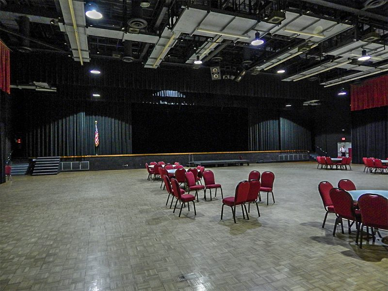 The Borini Theater empty at Kings Point Main Clubhouse, Sun City Center, FL