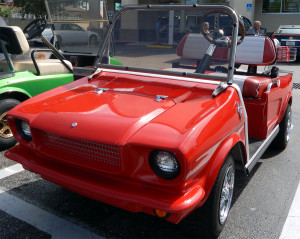 1965 Ford Mustang customized golf cart with Kragers at Walgreens in Sun City Center, Florida