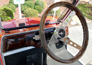 1965 Mustang steering wheel on Club Car golf cart by Phat Cat Carts in Sun City Center, FL