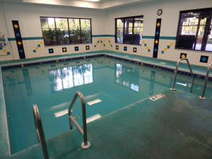 4 ft heated indoor pool that sits next to the main lap pool at the South Clubhouse (KPSC) in the Kings Point neighborhood of Sun City Center, Florida