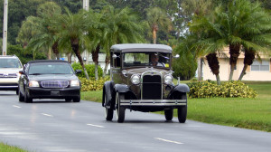 A Black 1930 Model A Ford driving down Kings Blvd Sun City Center, FL