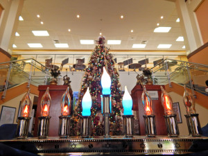 A Hanukkiya or Hanukkah Menorah at Kings Point South Clubhouse, Sun City Center, Florida