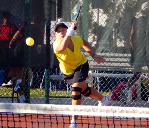 Action Shot Womens Doubles Pickleball Tournament Tampa Bay Senior Games 2013 Sun City Center