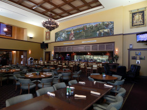 Amici's Restaurant with two story ceilings with chandeliers at Club Renaissance in Sun City Center, FL