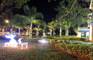 Angel glowing in Christmas lights at entrance of Kings Point, Sun City Center