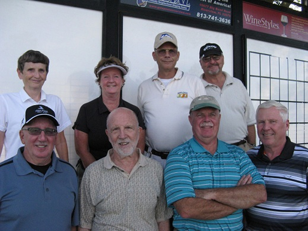 [Hogans Golf Club of Sun City Center & Kings Point > Back Row L to R: Jenice Taylor, Colleen Caplette, Bill Barron, and Dale Nicholson, Front Row L to R: Joe DeFelice, Ray Curry, Mike Brock, and Walt Weldon