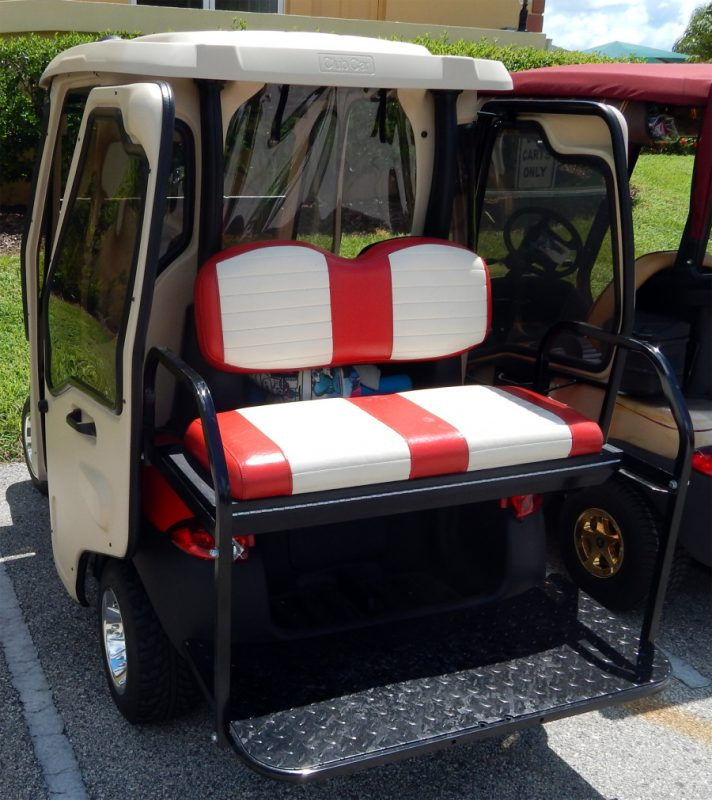 back red and white seats on red ford truck club car golf cart in sun city center fl sun city. Black Bedroom Furniture Sets. Home Design Ideas