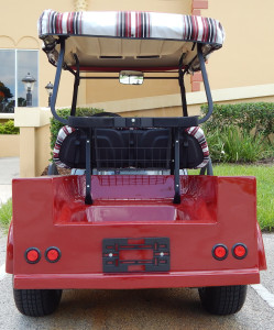 Back view of 1950s Chevy Rat Rod Truck Golf Cart on Club Car frame in Sun City Center FL