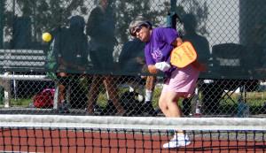 Ball hit in Womens Doubles Pickleball Tournament Tampa Bay Senior Games 2013 Sun City Center