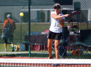 Ball hit to other side in Womens Pickleball Tournament Tampa Bay Senior Games 2013 Sun City Center
