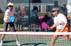 Ball in air in Womens Pickleball Tournament Tampa Bay Senior Games 2013 Sun City Center