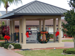 Band Stand on Cherry Hills decorated for Christmas in Sun City Center, Florida