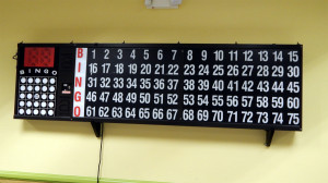 Bingo electronic scoreboard hanging on wall in the Card Room at the Kings Point Main Clubhouse, Sun City Center