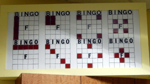 Bingo oversized board on shelf in the Card Room at the Kings Point Main Clubhouse, Sun City Center