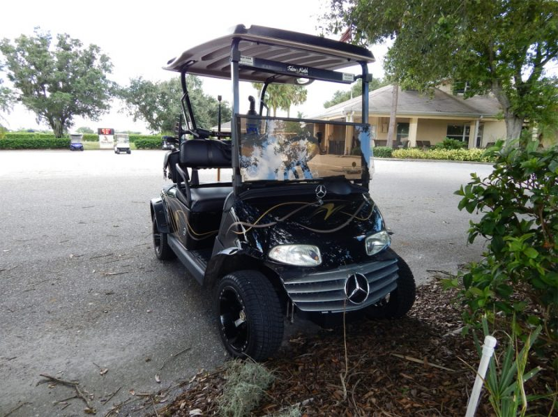 black mercedes benz ez go golf cart at falcon watch golf course kings point sun city center. Black Bedroom Furniture Sets. Home Design Ideas