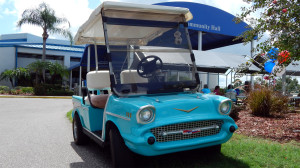 Blue 57 Chevy Bel Air golf cart at Community Hall