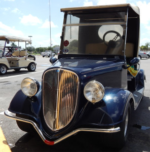 Blue Streetrod Golf Cart at Ace Hardware in Sun City Center Plaza