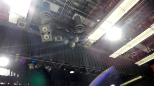 Borini Theater over exposed showing glare with JBL Speaker system hanging from rafters, Sun City Center, FL