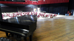 Borini Theater piano placed on stage, Sun City Center, FL