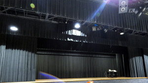Borini Theater stage with JBL Speaker system hanging from rafters, Sun City Center, FL