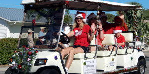 CHARLEY BELCHER Fox 13 News Reporter Grand Marshall in Sun City Center Holiday Golf Cart Parade 2013