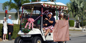 CHRISTMAS Golf Cart (#178) with reef in Sun City Center Holiday Golf Cart Parade 2013