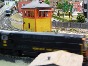 CONTROL TOWER in middle of tracks at Sun CIty Center Model Railroad Club
