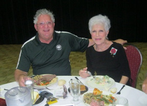 Charlie and Patti Brown at Borini Theater enjoying lunch after Bridging Freedom 2013 Golf Tournament at Falcon Watch, Kings Point, Sun City Center, FL