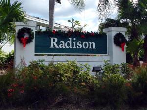Christmas reef and stocking on sign Radisons Sun City Center, Florida