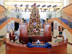 Christmas decorations at the Kings Point South Clubhouse in Sun City Center, Florida
