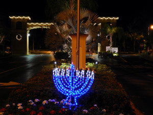Christmas lights at SR 674 front gate in Kings Point, Sun City Center