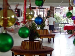 Christmas ornaments at front desk in Atrium Building Sun City Center, Florida