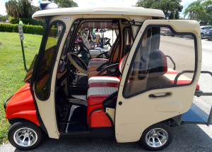 Curtis Eclosure on Red Ford Truck Club Car golf cart in Sun City Center, Fl
