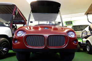 Customized BMW front end kit added to Club Car golf cart, West Coast Golf Cars, SCC, FL