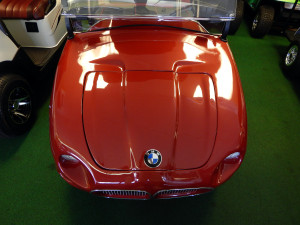 Customized BMW hood on Club Car golf cart, West Coast Golf Cars, SCC, FL