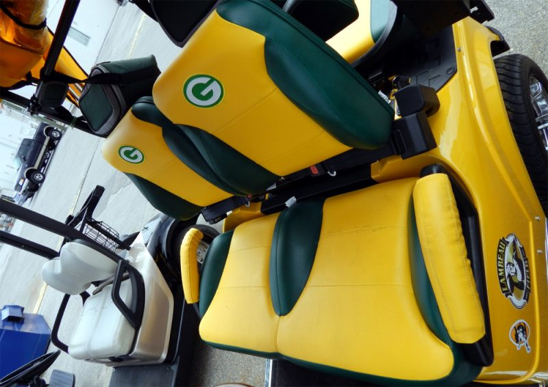customized green bay packers seats on starev 48v ss limited golf cart in sun city center fl. Black Bedroom Furniture Sets. Home Design Ideas