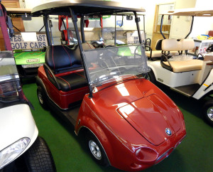 Customized Red BMW Club Car Golf Cart, West Coast Golf Cars, SCC, FL
