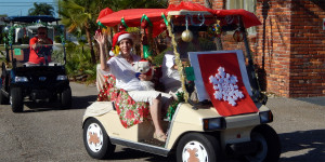 Customized snowflake golf cart at Sun City Center Holiday Golf Cart Parade 2013