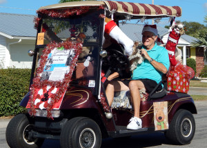 DOG LOVERS CLUB golf cart in Sun City Center Holiday Golf Cart Parade 2013