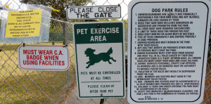 Dog Park Rules on gate at Best Friends Dog Park at Sun City Center Communtiy Hall on 1910 S Pebble Beach Blvd