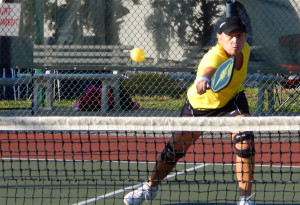 Fast return in Womens Doubles Pickleball Tournament Tampa Bay Senior Games 2013 Sun City Center