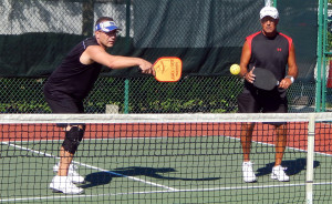 Frank Terlitz and Rob Denmark in Men's Doubles Pickleball Tournament 50+ Tampa Bay Senior Games 2013, Sun City Center, FL [DAY TWO: Saturday, October 26, 2013]