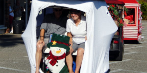 Frosty Snowman golf cart at Sun City Center Holiday Golf Cart Parade 2013