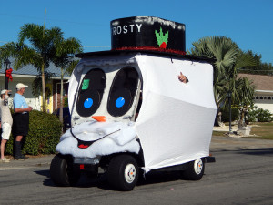 Frosty The Snowman golf cart at Sun City Center Holiday Golf Cart Parade 2013