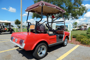 Full back view of 1965 Mustang Club Car golf cart in Sun City Center, FL