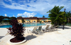 Main Clubhouse Pool in the gated 55 retirement community of Kings Point, Sun City Center, Florida