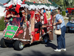 GINGER BREAD HOUSE golf cart in Sun City Center Holiday Golf Cart Parade 2013 2