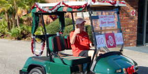 GO BUCKS holiday decorated golf cart in Sun City Center Holiday Golf Cart Parade 2013