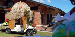 GRASS HUT golf cart parked by Town Hall after 2013 Golf Cart Parade in Sun City Center