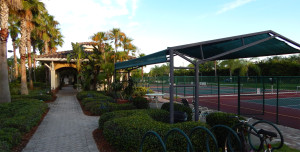 Pickleball courts at the South Club House in the Kings Point neighborhood of Sun City Center, Florida
